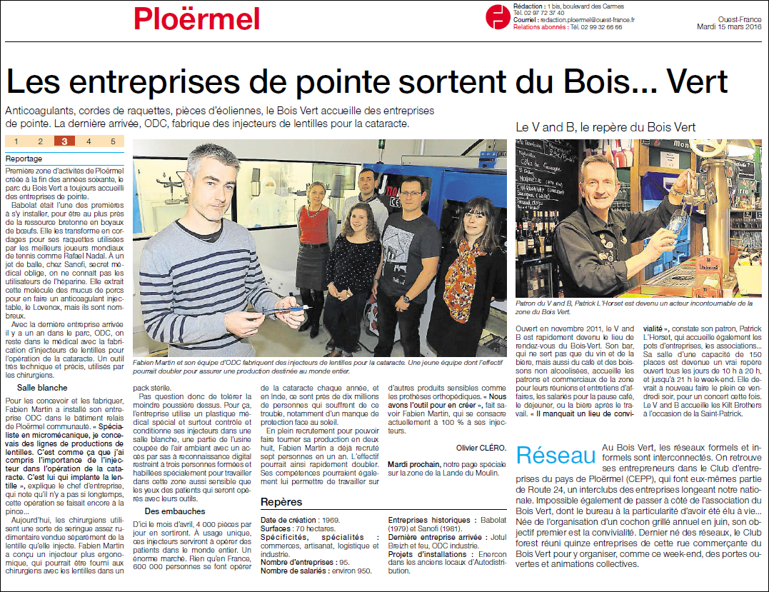 Ouest-france, news, ODC Industries, Ploërmel